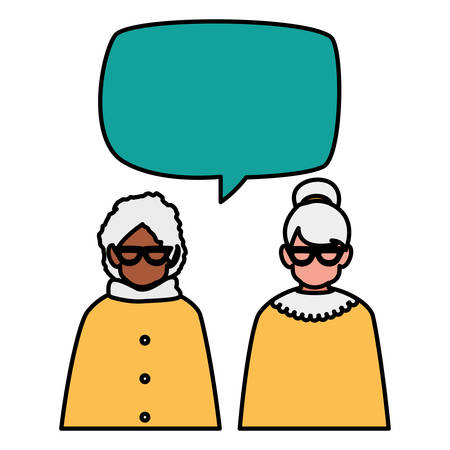 grandmothers couple interracial with speech bubble vector illustration design