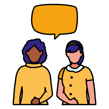 couple of girls interracial characters with speech bubbles vector illustration Banque d'images - 126574974
