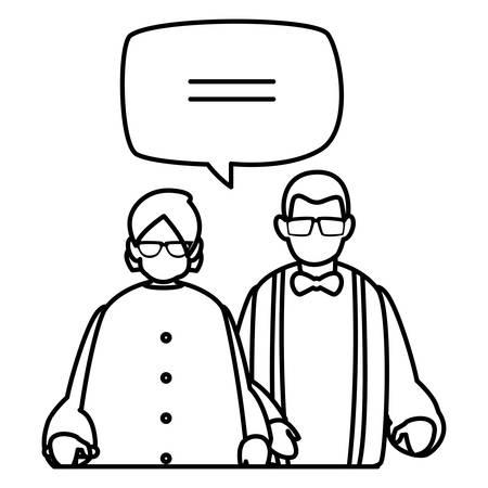 cute grandparents couple talking characters vector illustration design