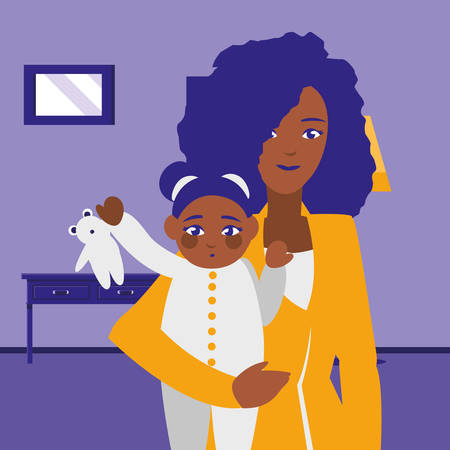 black mother with baby daughter characters vector illustration design