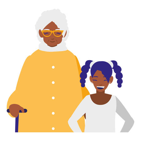 black grandmother with granddaughter vector illustration design