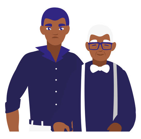black grandfather with son characters vector illustration design