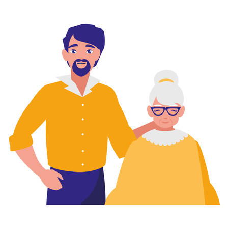 cute grandmother with son characters vector illustration design Illustration