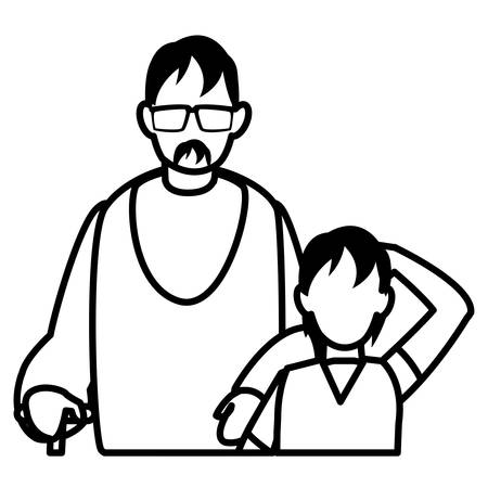Father and son over white background, vector illustration