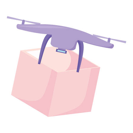 drone with a box Over white background, vector illustration
