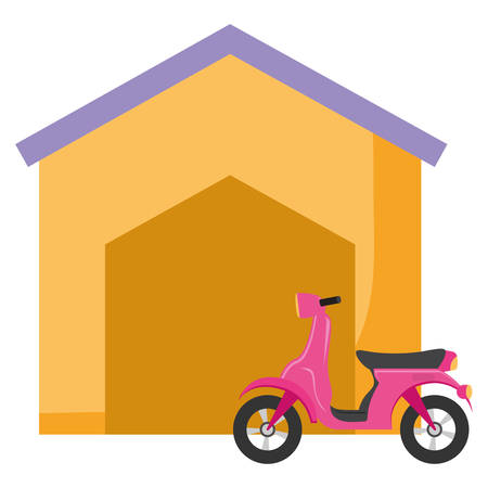 Motorcycle and house over white background, vector illustration
