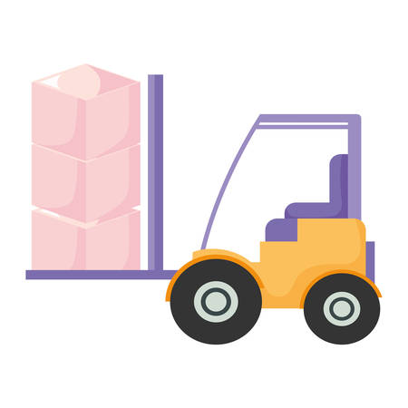 Lift truck with boxes Over white background, vector illustration