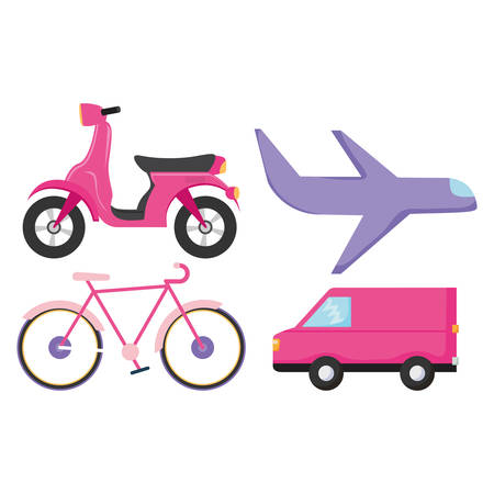 Motorcycle and transport vehicles over white background, vector illustration