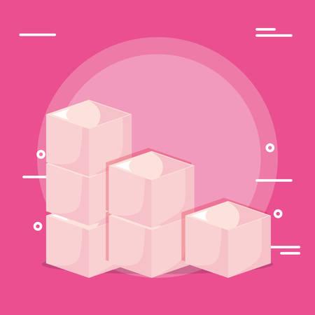 Boxes over pink background, colorful design. vector illustration