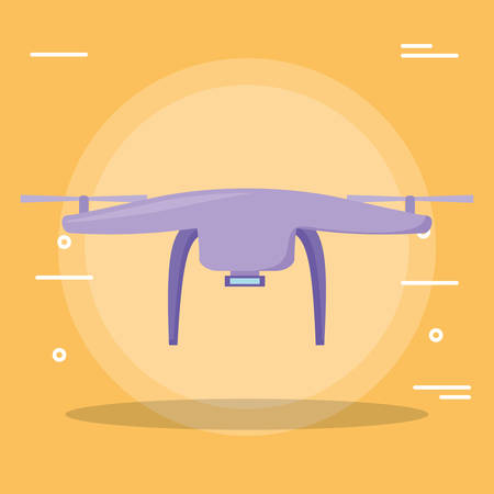 Drone icon Over yellow background, vector illustration