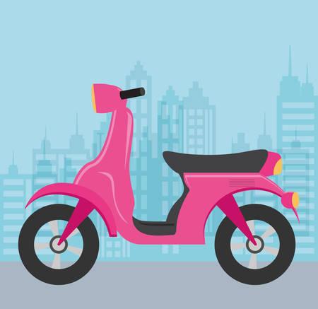 Motorcycle over blue background, colorful design. vector illustration Illustration