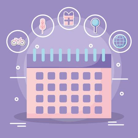 calendar planner Over purple background, vector illustration