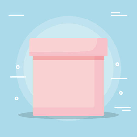 box icon over blue background, vector illustration