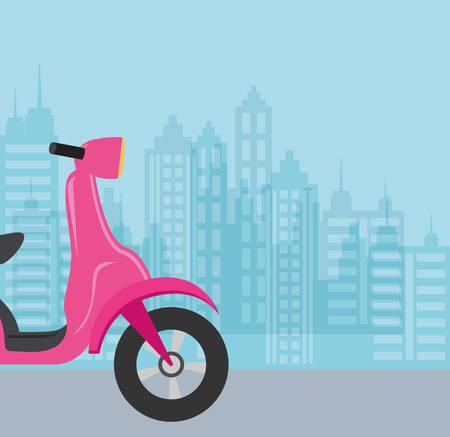 Motorcycle over blue background, colorful design. vector illustration Çizim
