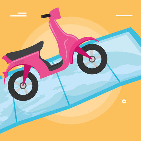Motorcycle on a map over white background, vector illustration