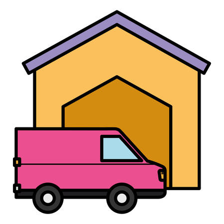 House and Cargo truck icon Over white background, vector illustration