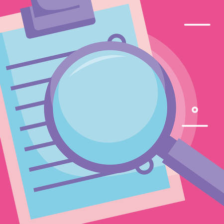 Magnifying glass and checklist Over pink background, vector illustration
