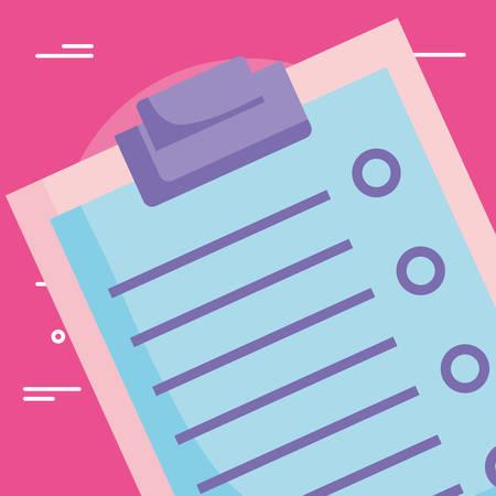 Checklist over pink background, vector illustration