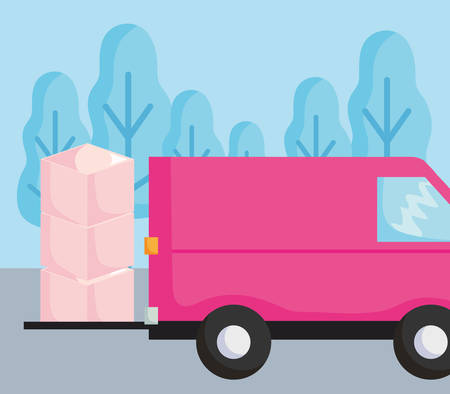 Delivery truck with boxes Over landscape background, colorful design. vector illustration