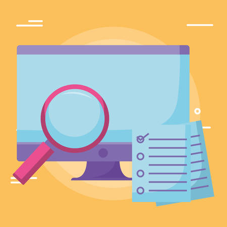 Computer with magnifying glass and checklist over yellow background, vector illustration