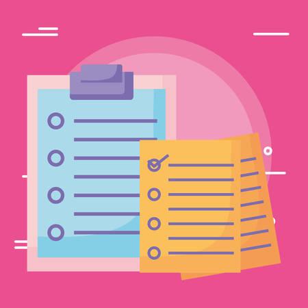 Checklist over pink background, vector illustration Vektorgrafik