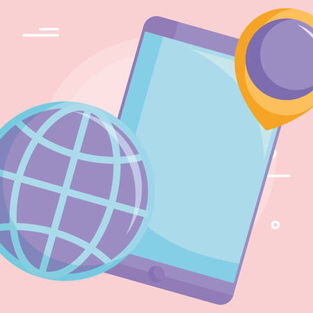 Smartphone device with location pin and global sphere icon over pink background, vector illustration