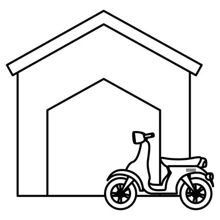 Motorcycle and house over white background, vector illustration Çizim