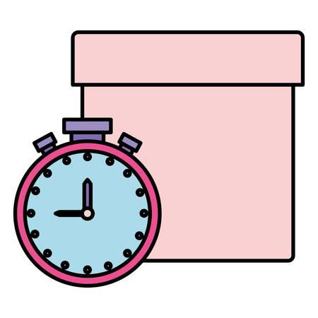 Chronometer and box Over white background, vector illustration