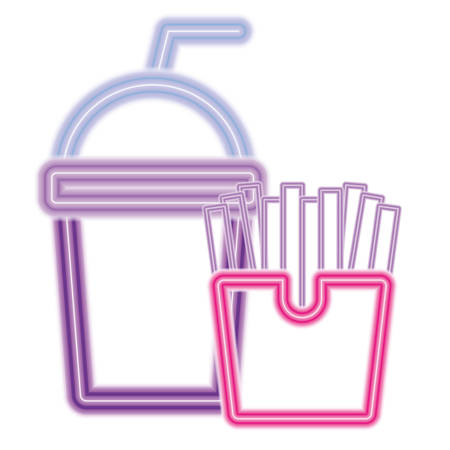 smoothie and French fries over white background, vector illustration
