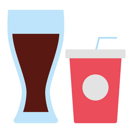soft drink cup and drink glass icon over white background, vector illustration