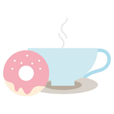 Coffee mug and donut over white background, vector illustration