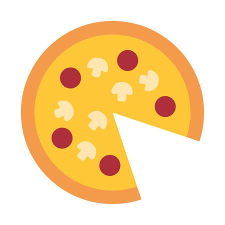 Pizza icon over white background, colorful design. vector illustration