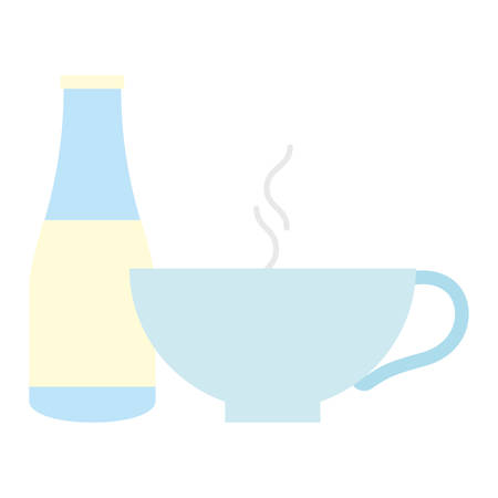 milk bottle and Coffee mug over white background, vector illustration