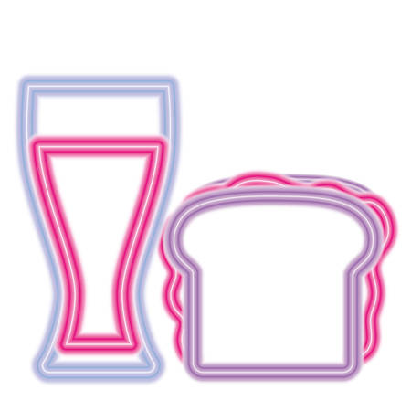 sandwich and drink glass icon over white background, vector illustration