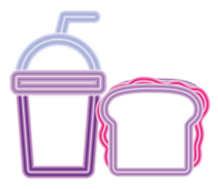 smoothie and Sandwich over white background, colorful neon design. vector illustration