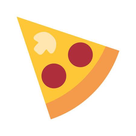 Pizza slice icon over white background, colorful design. vector illustration Иллюстрация
