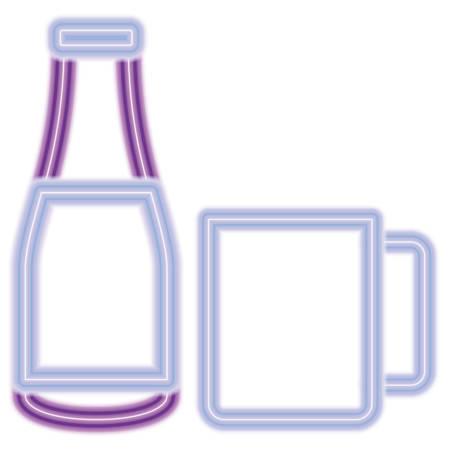 mug and drink bottle over white background, colorful neon design.  vector illustration