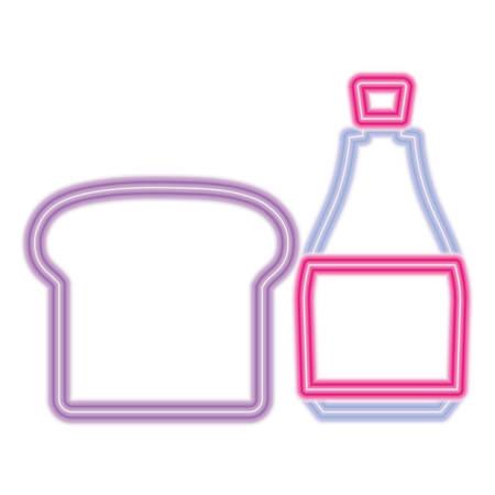 bread slice and bottle over white background, vector illustration