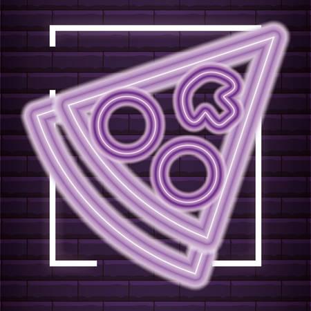 Pizza slice icon over purple background, colorful neon design. vector illustration