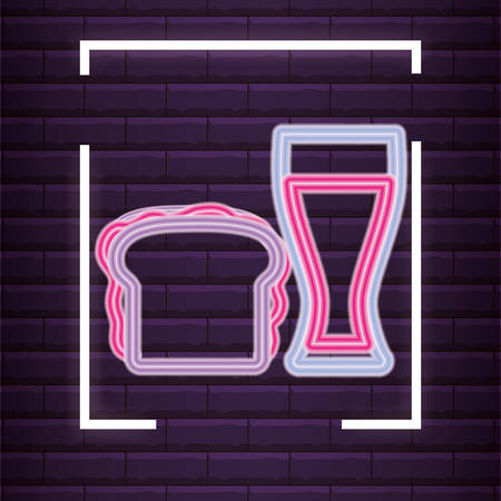 Sandwich and drink glass over purple background, colorful neon design. vector illustration
