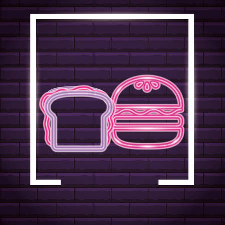 hamburger and sandwich over purple background, colorful neon design. vector illustration