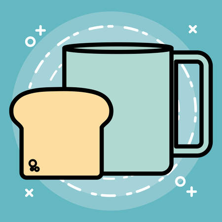 bread slice and coffee mug icon over blue background, colorful design. vector illustration