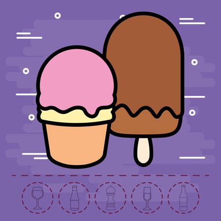 ice cream and ice lolly over purple background, colorful design. vector illustration