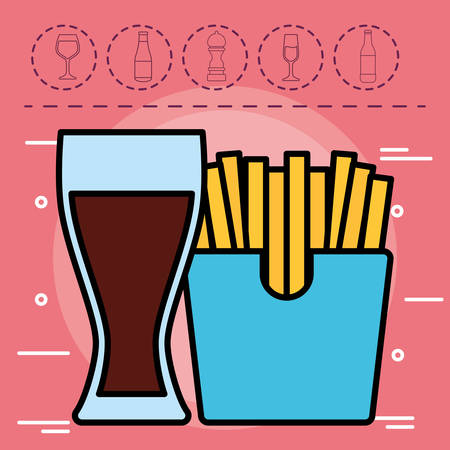 drink glass and french fries box over red background, colorful design. vector illustration