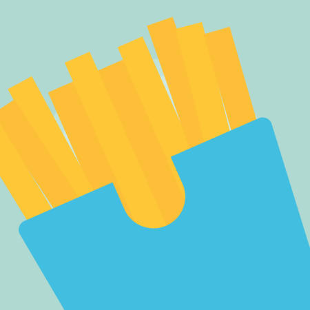 French fries box icon over blue  background, vector illustration Ilustração