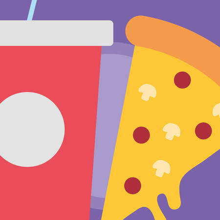 Soft drink cup and pizza over purple background, colorful design. vector illustration