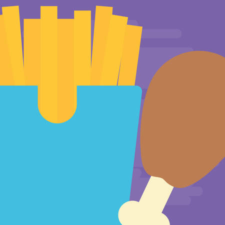 Chicken thigh and french fries box over purple background, vector illustration
