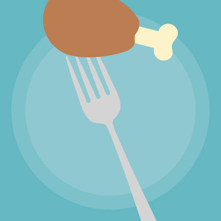 fork with Chicken thigh icon over blue background, vector illustration