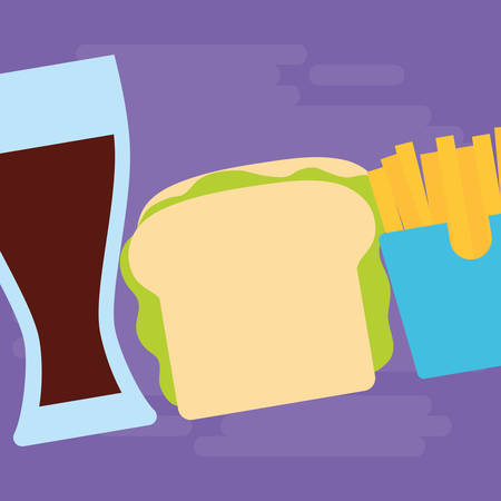 glass drink with fren fries box and sandwich over purple background, vector illustration