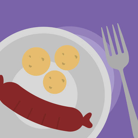 plate with sausage and potatoes icon over purple background, vector illustration